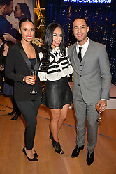 Left to right, ROCHELLE HUMES, SARAH JANE CRAWFORD and MARVIN HUMES at the #PandoraWishes Campaign Launch Event, Pandora Marble Arch flagship store, London on 12th November 2014.