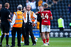 Bristol City Head Coach Lee Johnson and Andi Weimann of Bristol City celebrate victory over Hull City - Mandatory by-line: Robbie Stephenson/JMP - 24/08/2019 - FOOTBALL - KCOM Stadium - Hull, England - Hull City v Bristol City - Sky Bet Championship