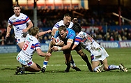 Lee Mossop of Salford Red Devils is stopped short of the line during the Betfred Super League match at Belle Vue, Wakefield<br /> Picture by Richard Land/Focus Images Ltd +44 7713 507003<br /> 09/02/2018