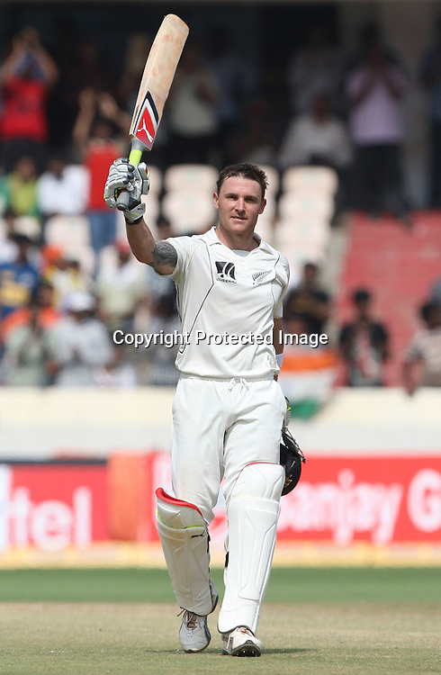 New Zealand batsman Brendon McCullum celebrates after make 1st test double century against India during the Indian vs New Zealand 2nd test match day-5 Played at Rajiv Gandhi International Stadium, Uppal, Hyderabad 16 November 2010 (5-day match)