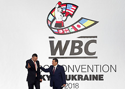 October 1, 2018 - Kiev, Ukraine - WBC President Mauricio Sulaiman (R) and Kiev's Mayor and former heavyweight boxing champion Vitali Klitschko (L) attend an official opening of the 56th WBC ( World Boxing Council ) Convention in Kiev, Ukraine, 01 October, 2018. The 56th WBC Convention takes place in Kiev from September 30 to October 05. The event participate of boxing legends Lennox Lewis, Evander Holyfield, Eric Morales, Alexander Usik, Vitali Klitschko and about 700 congress participants from 160 countries. (Credit Image: © Str/NurPhoto/ZUMA Press)