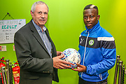Forest Green Rovers Drissa Traoré(4) with the match ball sponsor during the EFL Sky Bet League 2 match between Forest Green Rovers and Swindon Town at the New Lawn, Forest Green, United Kingdom on 22 September 2017. Photo by Shane Healey.