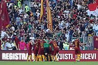 Esultanza dopo il gol del 3-1 di Federico Fazio Roma<br />Goal Celebration Roma<br />Roma 28-09-2018 Stadio Olimpico Football Calcio Serie A 2018/2019 AS Roma - Lazio Foto Luca Pagliaricci / Insidefoto