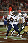 Los Angeles Chargers quarterback Cardale Jones (7) in action during the 2018 NFL preseason week 4 football game against the San Francisco 49ers on Thursday, Aug. 30, 2018 in Santa Clara, Calif. The Chargers won the game 23-21. (©Paul Anthony Spinelli)