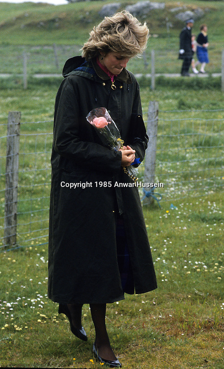 WESTERN ISLES, SCOTLAND - JULY 04:  Diana, Princess of Wales looks thoughtful and sad on July 04, 1985 in the Western Isles, Scotland. (Photo by Anwar Hussein/Getty Images) *** Local Caption *** Diana, Princess of Wales