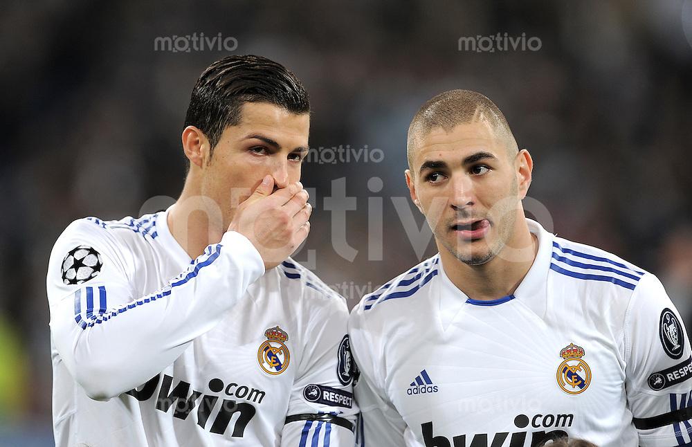 FUSSBALL   CHAMPIONS LEAGUE   SAISON 2010/2010   ACHTELFINALE  Real Madrid - Olympique Lyon RUECKSPIEL 16.03.2011 Cristiano Ronaldo, Karim Benzema (v. li., Real Madrid)