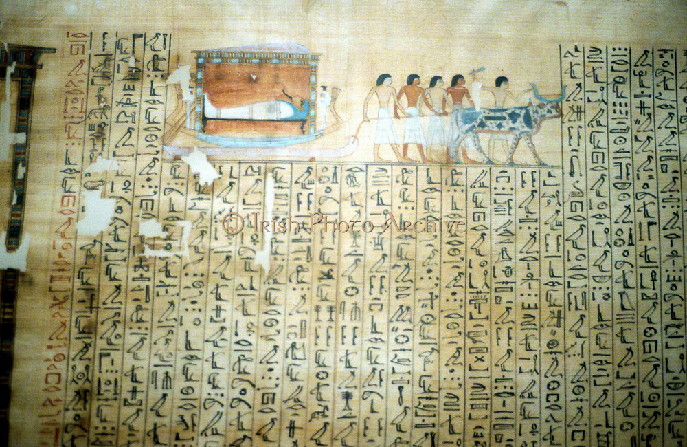 Ancient Egyptian papyrus of Book of the Dead showing pharaoh on bier being drawn to burial.