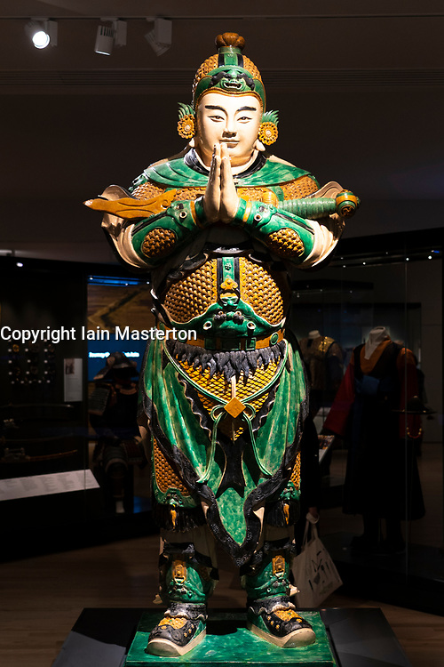 Weituo statue, the leading guardian of Buddhist faith and teachings at East Asia Gallery at National Museum of Scotland, Edinburgh.