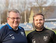 FODBOLD: Cheftræner Lars Dahlin og anfører Frederik Arentzen ved Ølstykke FC's officielle fotosession den 26. marts 2019 på Ølstykke Stadion. Foto: Claus Birch