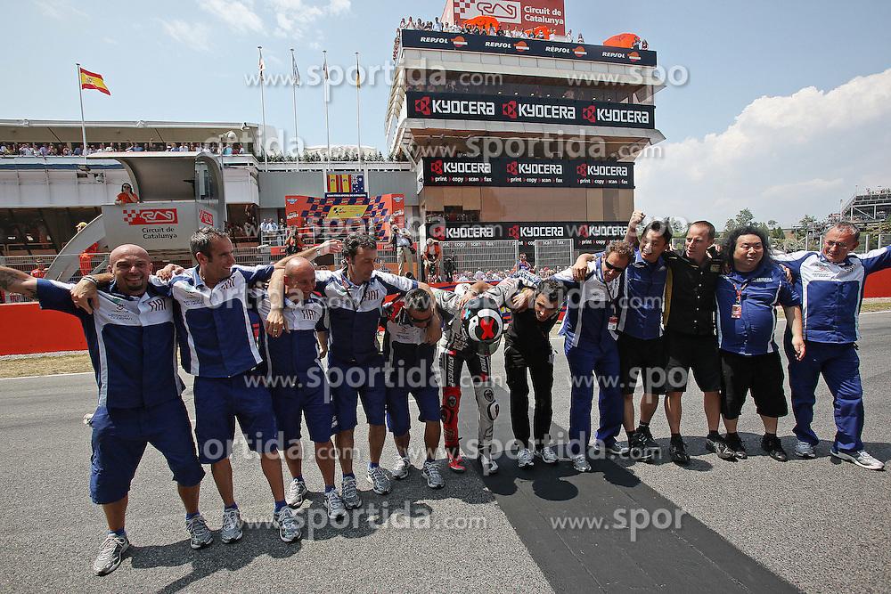 04.07.2010, Montmelo, Barcelona, ESP, MotoGP, Grand Prix von Katalonien im Bild celebration of Jorge Lorenzo - Fiat Yamaha team., EXPA Pictures © 2010, PhotoCredit: EXPA/ InsideFoto/ Semedia *** ATTENTION *** FOR AUSTRIA AND SLOVENIA USE ONLY! / SPORTIDA PHOTO AGENCY