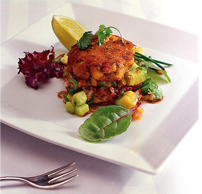 CrabCakes,Spring salad,Avocado chutney,food photographer,miami,<br /> miami food photography