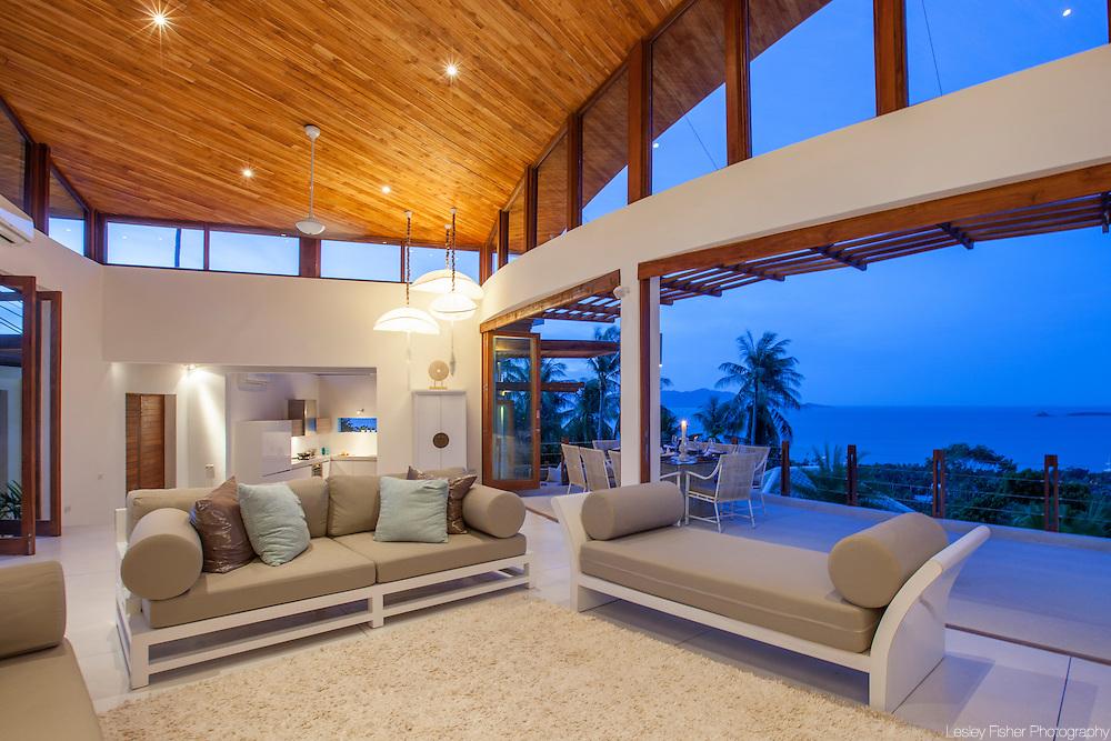 Living room, Villa Kya, a luxury, private villa located in the hills of Bophut, Koh Samui, Thailand