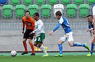9.6.2016, Keskuskenttä, Rovaniemi.<br /> Veikkausliiga 2016.<br /> Rovaniemen Palloseura - IFK Mariehamn.<br /> Diego Assis Figueiredo (IFK Mhamn) v Robert Taylor (RoPS).
