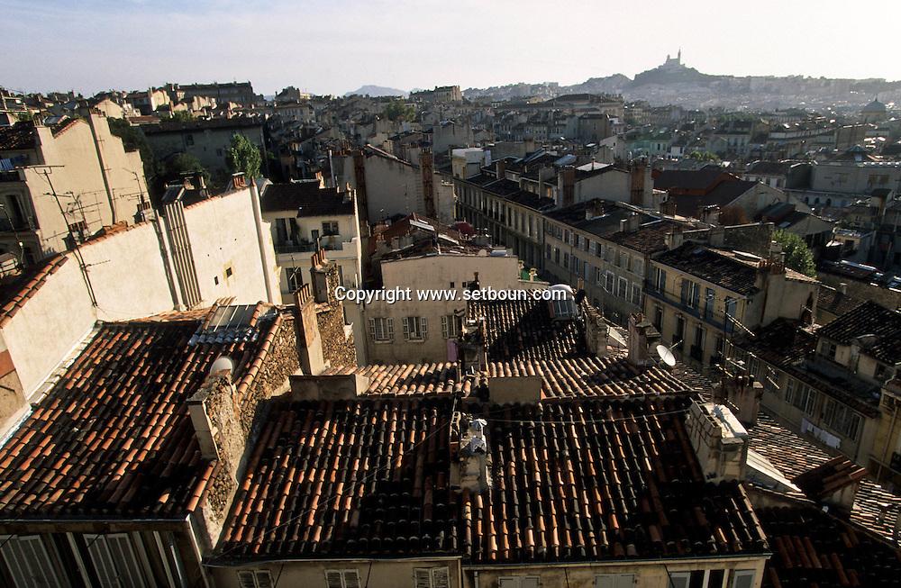 = Rooftops view from  saint vincent de paul reformes church  Marseille  France   /// Les toits et le clocher de l eglise des reformes saint Vincent de paul sur la cannebiere  Marseille  France  +