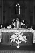 March 1980, Department of San salvador. <br /> Archbishop Oscar Romero, archbishop of San Salvador, El Salvador, celebrating a wedding a week before his death. He was born on August 15, 1917, in the town of Ciudad Barrios.  He died from an assassin's bullet on March 24, 1980, in San Salvador while celebrating Mass.