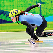 February 13, 2009 - 2010 Winter Olympics - Vancouver, Canada - Katherine Reutter competes in 500m Short Track Speed Skating preliminary competition held at the Pacific Coliseum during the 2010 Winter Olympic Games.