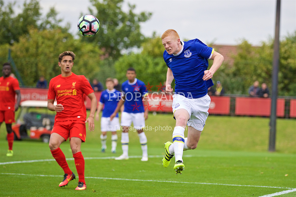 KIRKBY, ENGLAND - Saturday, September 24, 2016: Everton's Morgan Feeney in action against Liverpool during the Under-18 FA Premier League match at the Kirkby Academy. (Pic by David Rawcliffe/Propaganda)