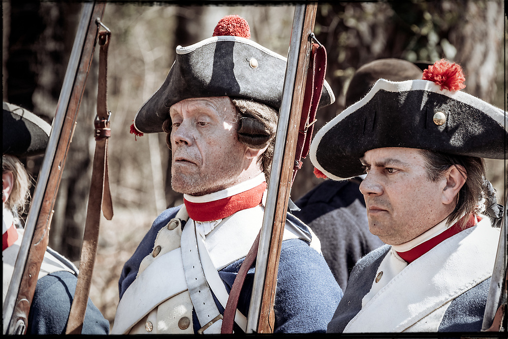 Closeup of Hessian Musketeer Regiment von Bose soldiers at the 2017 Battle of Guilford Courthouse Reenactment.