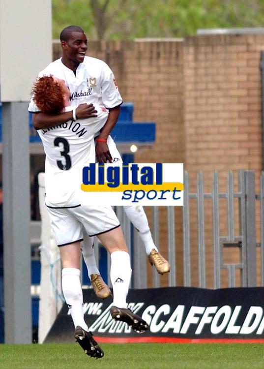 Photo: Daniel Hambury.<br /> Milton Keynes Dons V Bristol City.<br /> Coca Cola League One.<br /> 09/04/2005.<br /> MK Dons's Izale McLeod celebrates his goal.