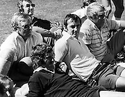 Coaching seminar. On ground, from left, Graeme Crossman, Graham Mourie, Andy Leslie and Jack Gleeson. New Zealand All Blacks, year unknown. Photo: PHOTOSPORT/Peter Bush