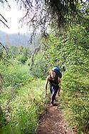 Stephanie Haynes hiking on the Alpine Ridge trail in Kachemak Bay State Park, near Homer, Alaska.