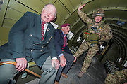 Tom Walsh,88 Glider Rgt, Cecil Hughs, 9 Para, Sgt Allen Jackson, 3 Para,inside a dakota. Veterans of the Parachute Regiment at the time of D Day, in the second world war, visit 16 Air Assault Brigade who will be carrying out a drop to commemorate the 70th anniversary next week. Colchester, UK.
