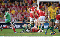 22 June 2013; Paul O'Connell, British & Irish Lions, reacts to an injury during the second half. British & Irish Lions Tour 2013, 1st Test, Australia v British & Irish Lions, Suncorp Stadium, Brisbane, Queensland, Australia. Picture credit: Stephen McCarthy / SPORTSFILE
