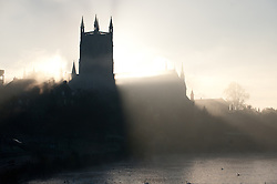 © under license to London News Pictures.  15/11/2010 A view of Worcester Cathedral early this morning (monday), surrounded in dense fog that covered a large part of the worcestershire countryside. Picture credit should read: David Hedges/London News Pictures