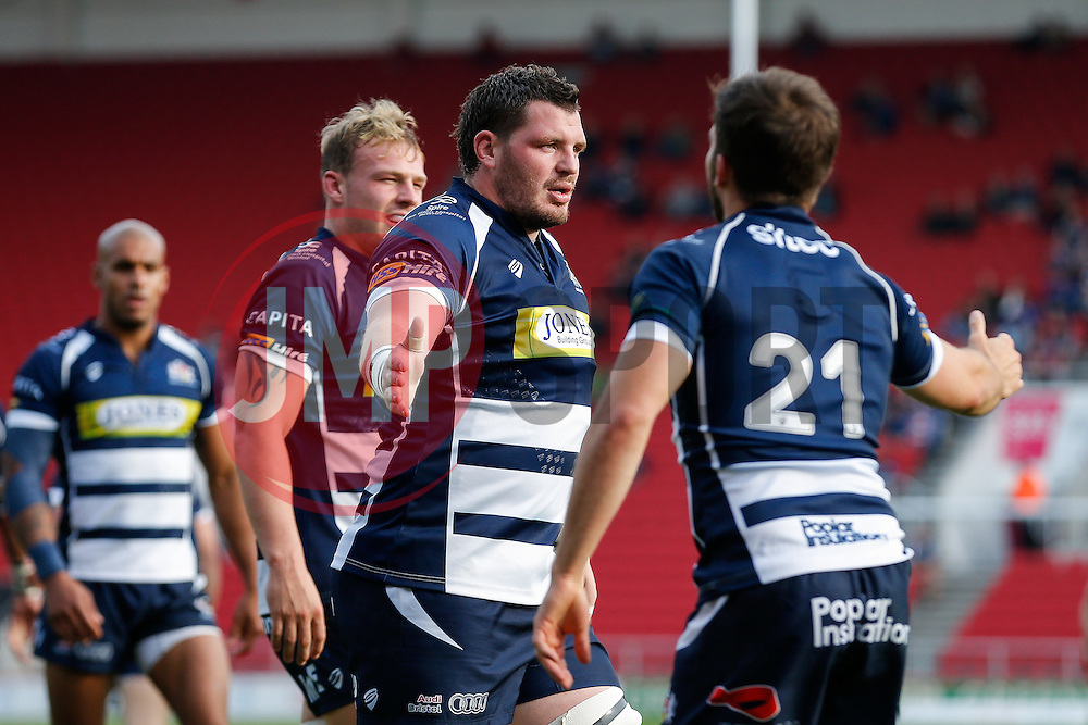 Bristol Rugby replacement James Phillips celebrates after Jack Tovey scores a try - Mandatory byline: Rogan Thomson/JMP - 07966 386802 - 04/10/2015 - RUGBY UNION - Ashton Gate Stadium - Bristol, England - Bristol Rugby v Rotherham Titans - Greene King IPA Championship.
