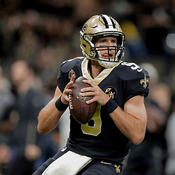 Dec 23, 2018; New Orleans, LA, USA; New Orleans Saints quarterback Drew Brees (9) prior to kickoff against the Pittsburgh Steelers at the Mercedes-Benz Superdome. Mandatory Credit: Derick E. Hingle-USA TODAY Sports