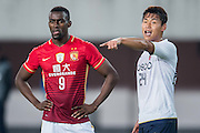 GUANGZHOU, CHINA - FEBRUARY 24:  Bae Seulgi of Pohang Steelers (R) points Jackson Martinez of Guangzhou Evergrande (L) during the Guangzhou Evergrande FC v Pohang Steelers match as part of the AFC Champions League 2016 at Guangzhou Tianhe Sport Center on February 24, 2016 in Guangzhou, China.  (Photo by Aitor Alcalde Colomer/Getty Images)