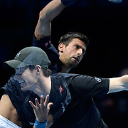 LONDON, ENGLAND - NOVEMBER 20:  (EDITORS NOTE: Multiple exposures were combined in camera to produce this image) Andy Murray of Great Britain and Novak Djokovic of Serbia in action during the mens final on day eight of the Barclays ATP World Tour Finals at O 2 Arena on November 20, 2016 in London, England.  (Photo by Split Second/Corbis via Getty Images