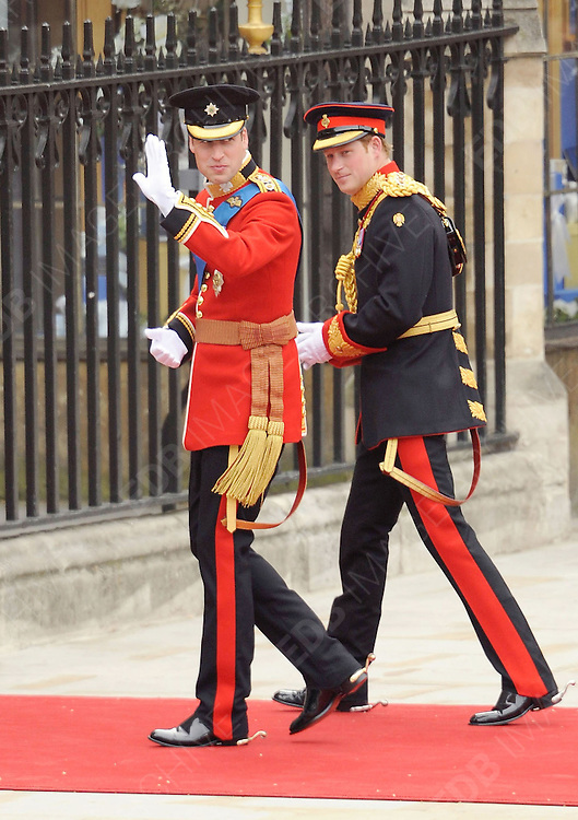 29.APRIL.2011. LONDON<br /> <br /> PRINCE WILLIAM AND PRINCE HARRY ARRIVING AT WESTMINSTER ABBEY FOR THE PRINCE WILLIAM AND CATHERINE MIDDLETON ROYAL WEDDING IN LONDON<br /> <br /> BYLINE: EDBIMAGEARCHIVE.COM<br /> <br /> *THIS IMAGE IS STRICTLY FOR UK NEWSPAPERS AND MAGAZINES ONLY*<br /> *FOR WORLD WIDE SALES AND WEB USE PLEASE CONTACT EDBIMAGEARCHIVE - 0208 954 5968*