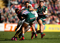 Christian Wade of Wasps us tackled by Telusa Veainu of Leicester Tigers - Mandatory by-line: Robbie Stephenson/JMP - 25/03/2018 - RUGBY - Welford Road Stadium - Leicester, England - Leicester Tigers v Wasps - Aviva Premiership