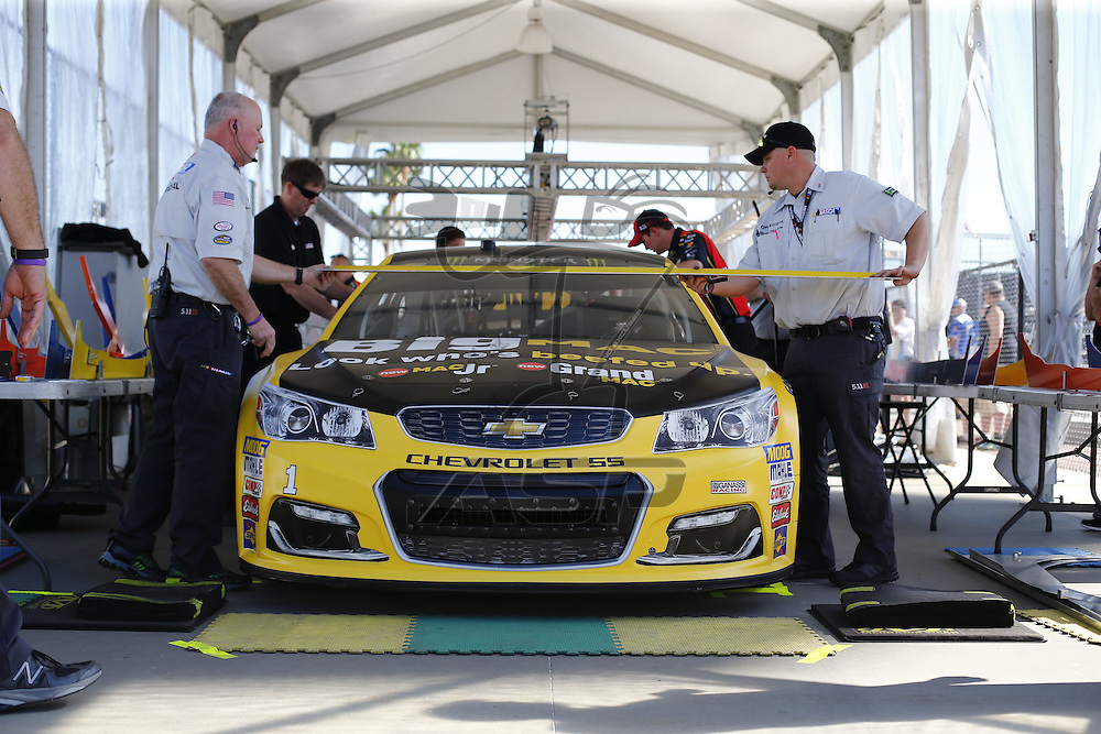 February 17, 2017 - Daytona Beach, Florida, USA: Teams work on their cars while they sit in the garage prior to taking to the track to practice for the Daytona 500 at Daytona International Speedway in Daytona Beach, Florida.