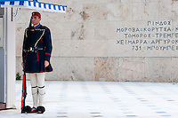 Athens, Greece. Syntagma Square, Evzones guarding the Tomb of the Unknown Soldier.