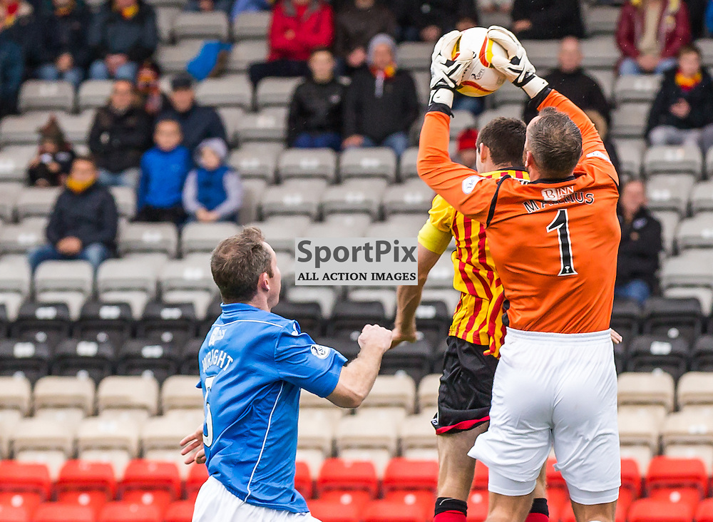 Alan Mannus takes a cross from Kris Doolan as Frazer Wright looks on during the Scottish Premiership tie between Partick Thistle and St Johnstone (c) ROSS EAGLESHAM | SportPix.co.uk