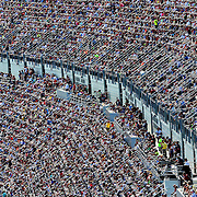 The new Daytona Rising seating on the front stretch is seen filled with fans during the 58th Annual NASCAR Daytona 500 auto race at Daytona International Speedway on Sunday, February 21, 2016 in Daytona Beach, Florida.  (Alex Menendez via AP)