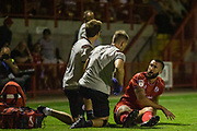 Ollie Palmer (Crawley Town)  following his assessment for a potential injury during the EFL Cup match between Crawley Town and Norwich City at The People's Pension Stadium, Crawley, England on 27 August 2019.