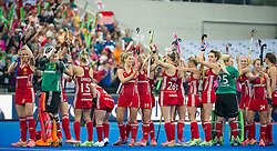The English team acknowledge the crowd before the match. England v The Netherlands - Final Unibet EuroHockey Championships, Lee Valley Hockey & Tennis Centre, London, UK on 30 August 2015. Photo: Simon Parker