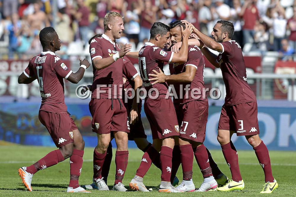 &copy; Filippo Alfero<br /> Torino-Sampdoria, Serie A 2015/2016<br /> Torino, 20/09/2015<br /> sport calcio<br /> Nella foto: esultanza giocatori Toro dopo gol