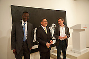 Tidjane Thiam ; Yuri O Thamrin; Indonesian Ambassador; Nigel Hurst, Indonesian Eye Contemporary Art Exhibition Reception, Saatchi Gallery. London. 9 September 2011. <br /> <br />  , -DO NOT ARCHIVE-© Copyright Photograph by Dafydd Jones. 248 Clapham Rd. London SW9 0PZ. Tel 0207 820 0771. www.dafjones.com.