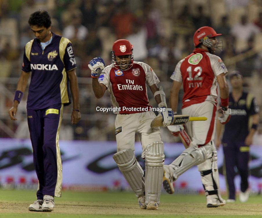 Kings XI Punjab Batsman Mahila Jayawrdhane Celebrates After Won The Match Against Kolkata Knight Riders During The Kolkata Knight Riders vs Kings XI Punjab 34th match Twenty20 match | 2009/10 season Played at Eden Gardens, Kolkata 4 April 2010 - day/night (20-over match)