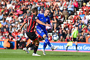 Leicester City Midfielder, James Maddison (10) beats AFC Bournemouth Midfielder, Dan Gosling (4) to the ball during the Premier League match between Bournemouth and Leicester City at the Vitality Stadium, Bournemouth, England on 15 September 2018.