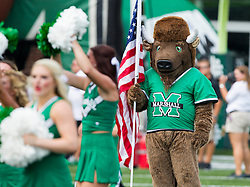 Sep 6, 2015; Huntington, WV, USA; The Marshall Thundering Herd mascot looks on before the start of their game against the Purdue Boilermakers at Joan C. Edwards Stadium. Mandatory Credit: Ben Queen-USA TODAY Sports