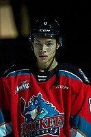 KELOWNA, BC - DECEMBER 18: Trevor Wong #8 of the Kelowna Rockets lines up against the Vancouver Giants at Prospera Place on December 18, 2019 in Kelowna, Canada. (Photo by Marissa Baecker/Shoot the Breeze)