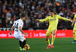 January 26, 2019 - Valencia, Valencia, Spain - Jose Luis Gaya of Valencia CF and Pablo Fornals of Villarreal CF during the La Liga Santander match between Valencia and Villarreal at Mestalla Stadium on Jenuary 26, 2019 in Valencia, Spain. (Credit Image: © AFP7 via ZUMA Wire)