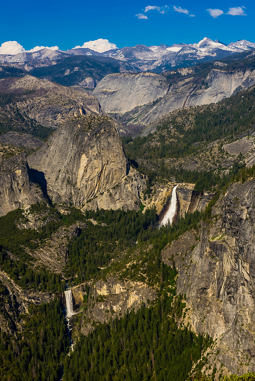 Liberty Cap with Nevada Fall (above) and Vernal Fall (below), Yosemite National Park, California USA.