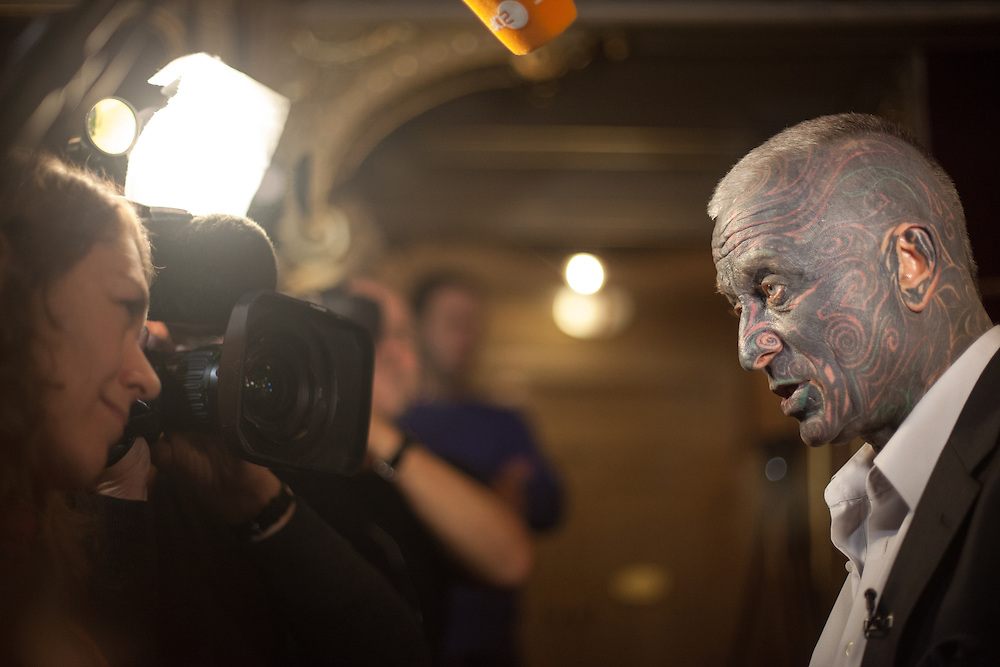 """Prof. Vladimír Franz giving interviews at the Prague National Opera during the final rehearsal of his new opera """"War with the Newts"""" (by Karel Capek). Franz is a prominent Czech composer and painter, stage music author and also a registered candidate in the 2013 Czech presidential election."""