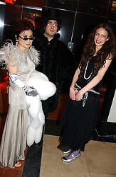 Left to right, YOKO ONO, SEAN LENNON and ELIZABETH JAGGER  at Andy & Patti Wong's Chinese New Year party to celebrate the year of the Rooster held at the Great Eastern Hotel, Liverpool Street, London on 29th January 2005.  Guests were invited to dress in 1920's Shanghai fashion.<br />